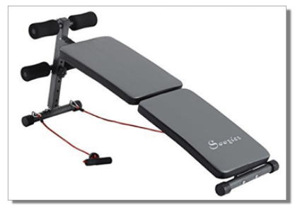 Soozier Adjustable Folding Ab Decline Sit Up Bench w/ Resistance Bands